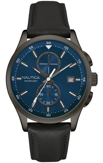 Nautica Nct 19 Acero Inoxidable Y Piel Casual Reloj De Cuar
