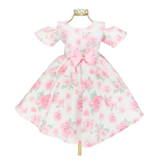 Vestido Infantil Floral Rosa Fashion Open Shoulder Luxo B746
