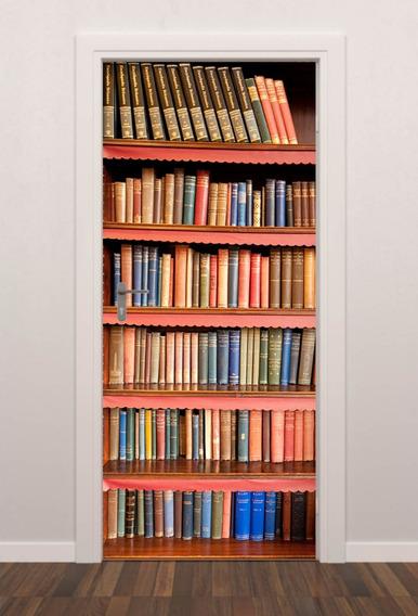 Adesivo Parede Porta Estante Livros Biblioteca Quarto Sala