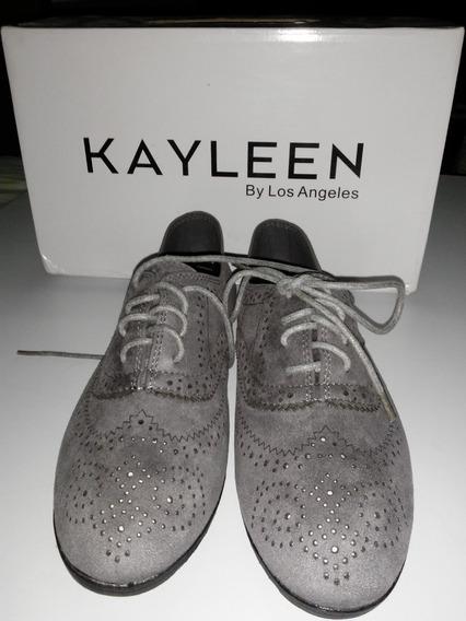 Zapato Dama Modelo Oxford Gris