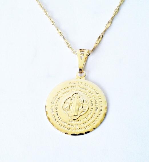 Colar Medalha De São Bento Oração Cruz Sagrada Folheado