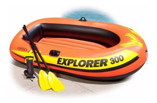 Bote Lancha Inflable Intex Explorer 300, Remos Y Bomba