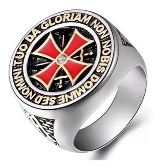 Anel Masculino Cruz De Malta Cavaleiros Honra Aço Titânio