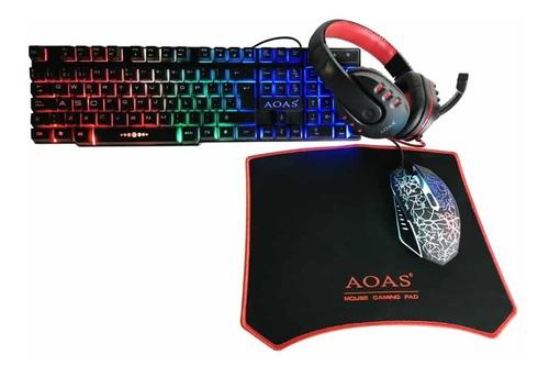 Combo Gamer Teclado Con Luces + Mouse + Audífonos + Mousepad
