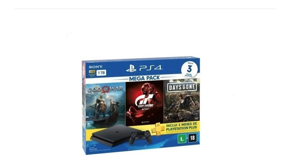 Console Ps4 1tb + Jogo Do Ano De 2018 Gow+2 Jogos Envio