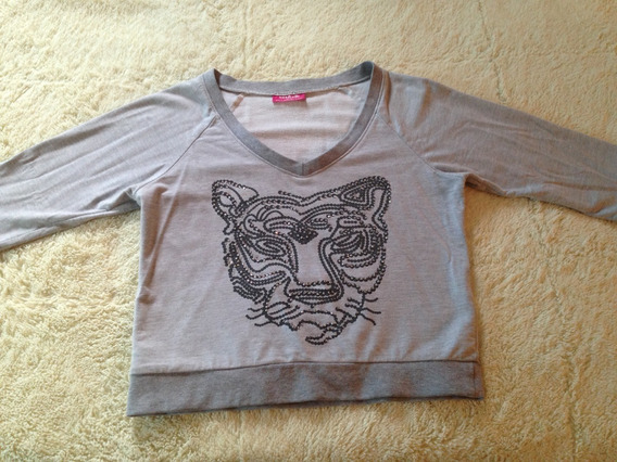 Crop Top Gris Estampado De Tigre