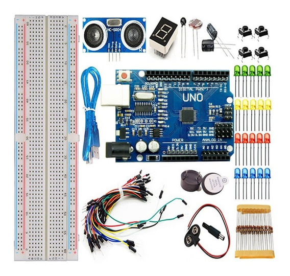 Kit Uno R3 Iniciante 100pcs + Protoboard Para Arduino