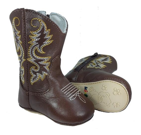 Bota Botina Country Texana Sapato Bebe Infantil Couro 1852