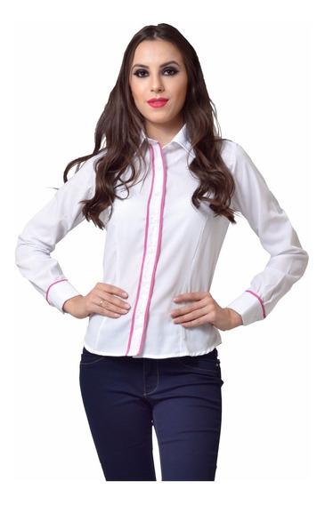 Camisa Social Feminina Slim Detalhe Compose