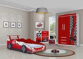 Jogo De Quarto Infantil Carro Vermelho Ferrari Dormitorio