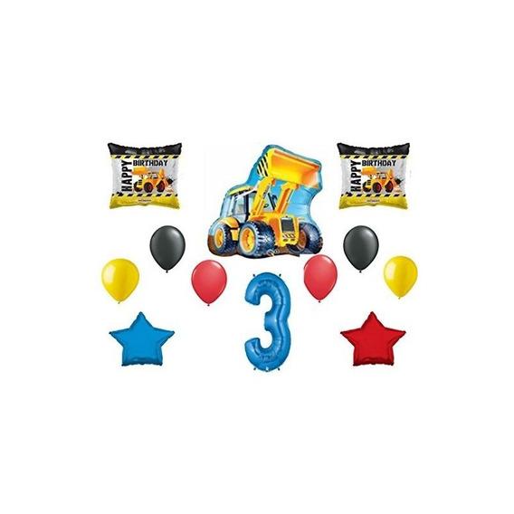Paquete De 3er Boy Cumpleaños Cargador De Construcción Balon