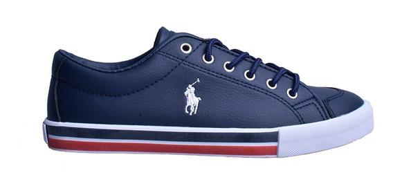 Tenis Polo Ralph Lauren Unisex Tipo Vinipiel Color Azul Navy