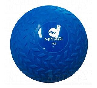 Balón Pelota Medicinal C/ Peso Inflable 7 Kg Azul Miyagi