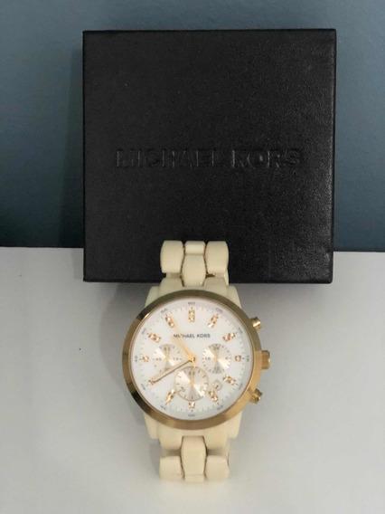 Relógio Michael Kors Branco Com Dourado