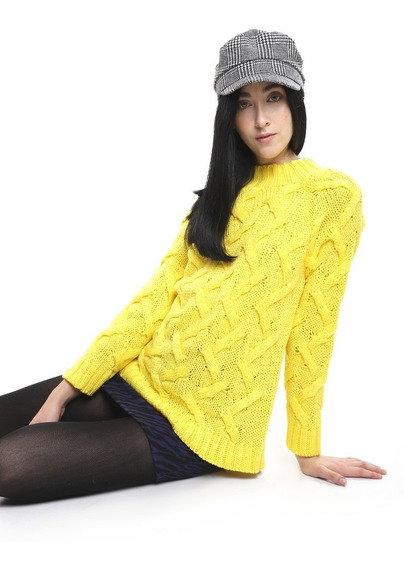 Sueter Grueso Mujer Manga Larga Color Amarillo Lob