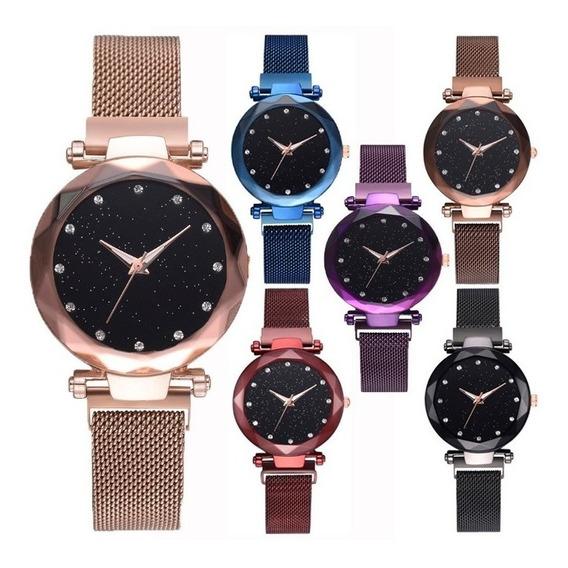 6 Reloj Iman Mujer Mayoreo Metal Cristal Proveedor Lote B237