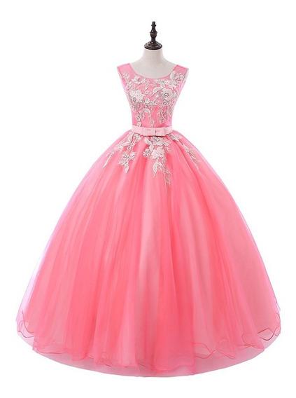 Hermoso Vestido Rosa Xv Años Rosa Bordado Apliques Envio Gra