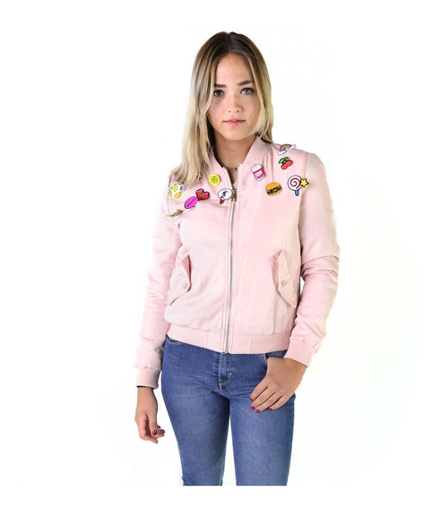 Campera Bomber Abrigo Con Pins Mujer The Big Shop