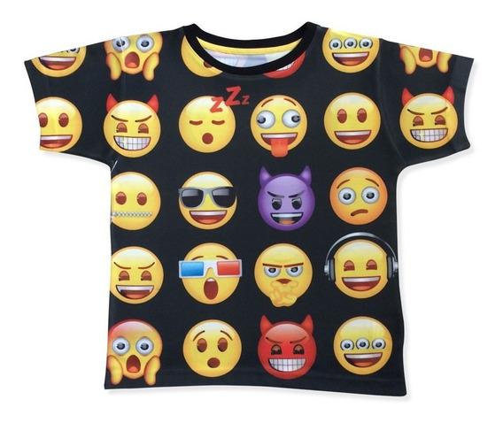 Playera Patrón Negro De Emoji Oficial Para Niño