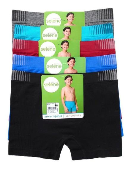 Cueca Boxer Infantil Sem Costura Selene Kit Com 6 Cuecas.