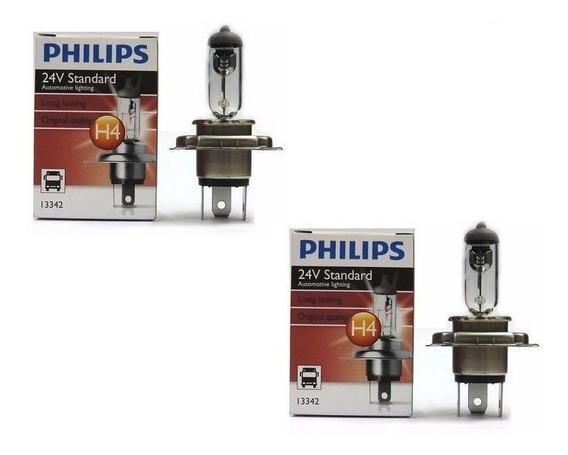 Par 2 Lâmpadas Reposição H4 24v 3 Pinos Original Philips