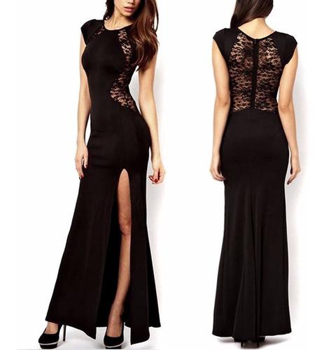 Vestido Fashion Largo Negro Encaje  Elegante Fiesta Cocktail