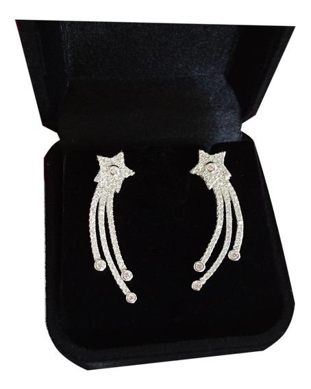Brinco Feminino Ear Cuff Estrela Cadente Noiva Prata Legítima 925