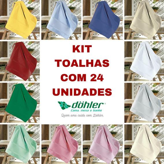 Kit Toalha Banho Velour Artesanalle Liso Dohler 24 Unid. 70x140cm