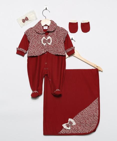 Kit Saída De Maternidade Menina Luxo 4 Peças Rosa Pink