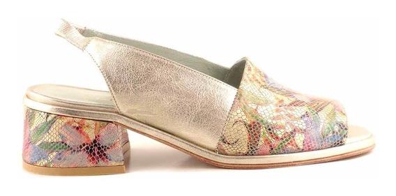 Zapato Mujer Sandalia Cuero Briganti Floreado - Mcsd04660 Cd