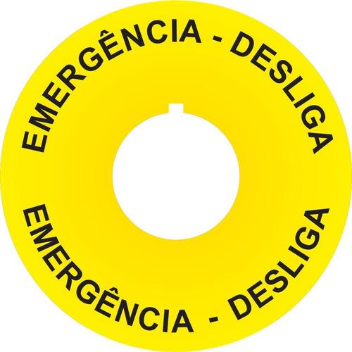 Imagem 1 de 5 de Placa Auto Adesiva Para Botões Emergência 22mm