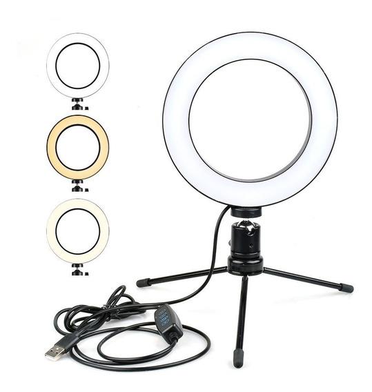 Luminaria Led Mini Estúdio Ring Light Mini Tripé 20 Cm
