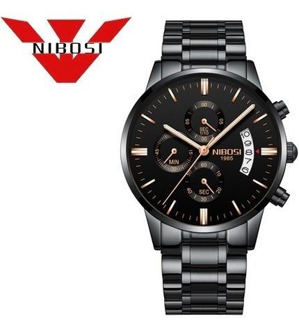 Relógio Nibosi Masculino 2309 Luxo Preto Rose Frete Grátis