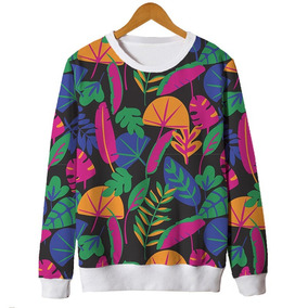 Blusas Femininas Moletom Roupa Floral Minimalista Retro 1 Mt