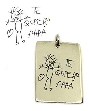 Colgante De Plata 925 Rectangular Con Dibujo De Hijo Grabado