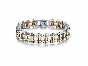 Pulseira/bracelete Masculina Em Aço 316l + Banho 18k