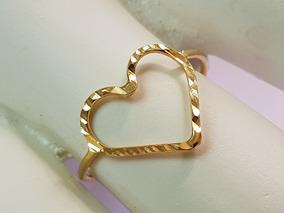 Anel Ouro 18k Minimalista Coração Vazado Grande Modelo Fio