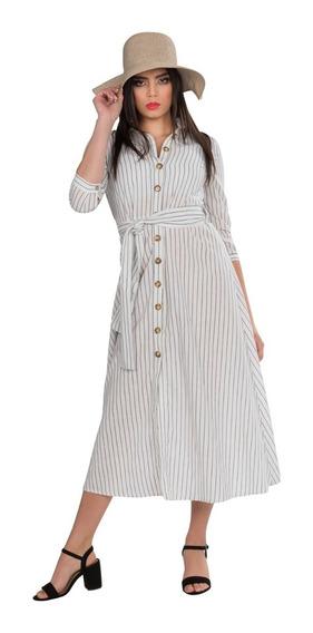 Vestidos Largos Casuales Blanco Lino Rayas Maxi Moda