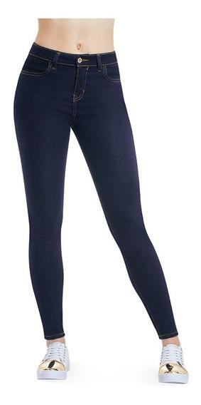 Jeans Skinny Super Stretch Tiro Alto Azul Liso Devendi