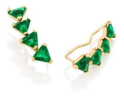 Brinco Folheado Ouro Ear Cuff Cristais Verdes Simone Simaria