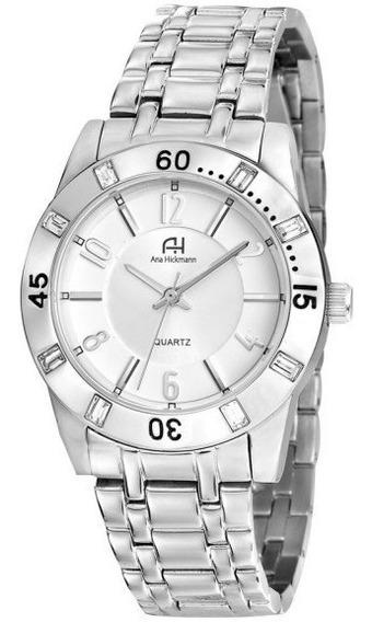 Relógio Feminino Ana Hickmann Prateado Aço Original Ah28731q