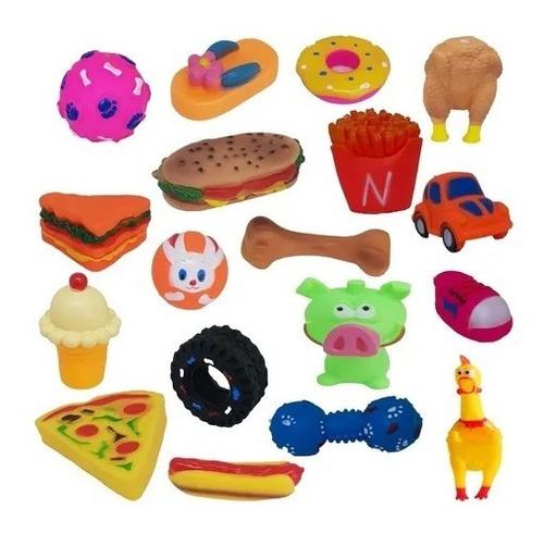 4 Brinquedos Pet Borracha Mordedor Sonoro Cachorro Cão + Nf