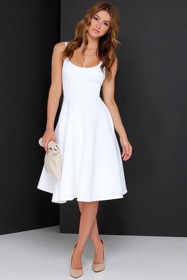 Vestido Midi Branco Para Culto