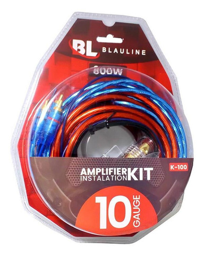 Kit De Cables Para Potencias De 2500w 10 Gauges Reales Rca + Fusible + Terminales