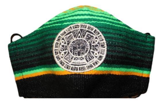 Cubrebocas De Sarape Mexicano Bordado 3 Capas