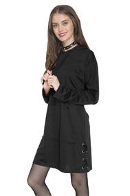 Vestido Con Capucha Negro Atrevida