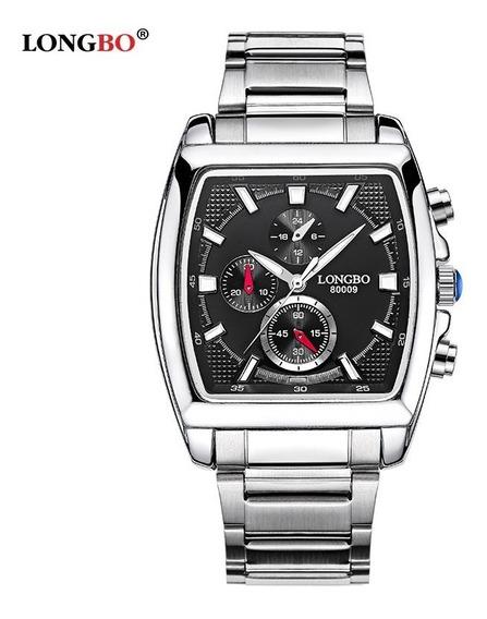 Relógio Masculino Longbo Aço Inox Quadrado Promoção Quartzo