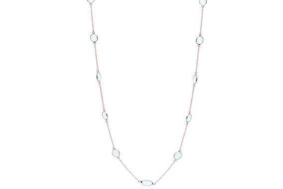 Gargantilla En Plata Fina Sterling Con Cristal Aqua (25276)