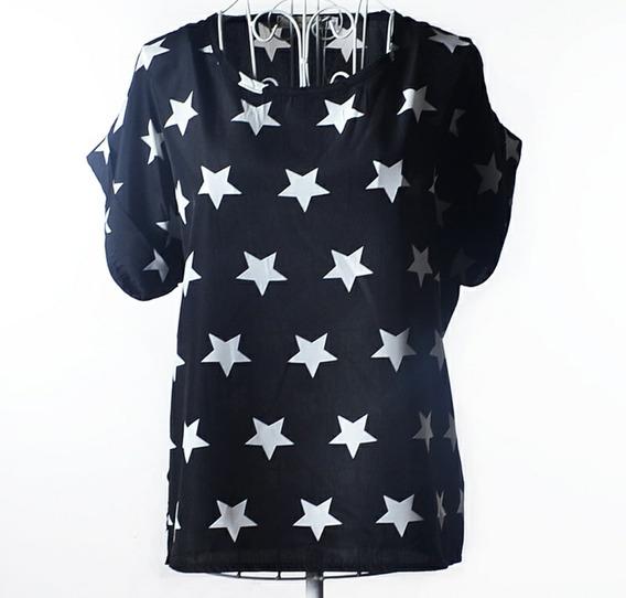 Camisa Chiffon Preta Estrelas