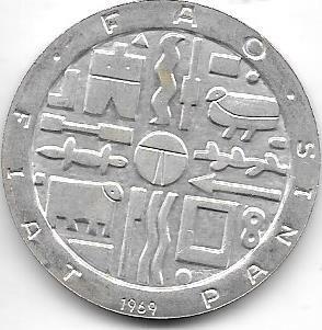 Moneda Uruguay 1000 Pesos Plata Año 1969 Fao Sin Circular
